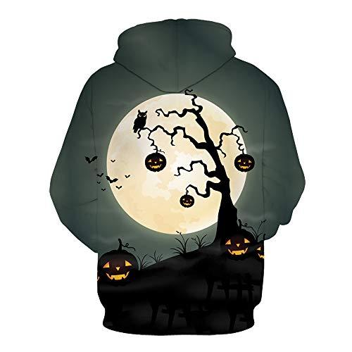 VECDY Damen Pullover,Räumungsverkauf- Herbst Männer Frauen Modus 3D Print Langarm Halloween Paare Hoodies Top Bluse Pumpkin Light Bat Bat Hoodie Singular Pullover T-Shirt(Mehrfarbig,34)