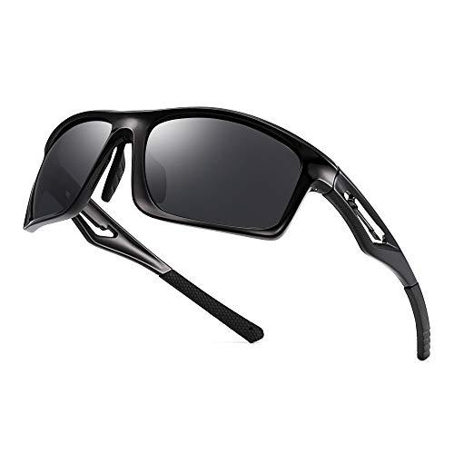 JIM HALO Herren- Polarisiert Sonnenbrille TR Tempel Sport Brille für Baseball Angeln Laufen Golf Radfahren Fahren(Schwarz/Polarisiertes Grau)