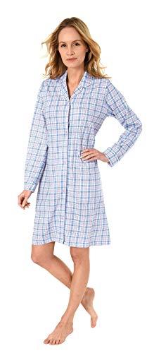 NORMANN WÄSCHEFABRIK Damen Nachthemd mit Knopfleiste, kariert - Single Jersey - zum durchknöpfen 281 213 90 152, Farbe:hellblau, Größe2:48/50
