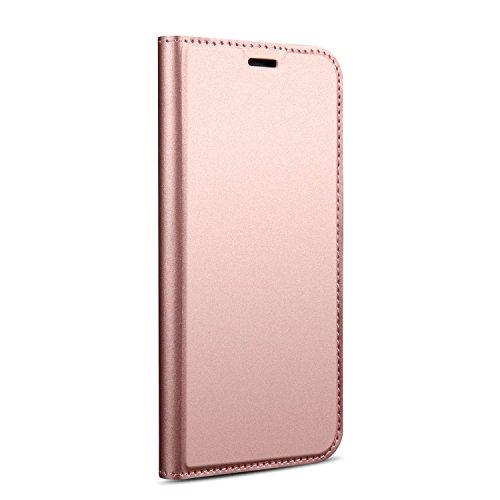 Funda® Ultra Delgado PU TPU Flip Folio Ranura y la Función Stand para Tarjeta para Xiaomi Mi Mix 2S(Rosa Oro)
