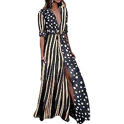 Vestido Largo Bohemia Ropa de Mujer Media Manga Moda Vestido de Fiesta Falda Recta con Cuello en V Impresión de Puntos (L, Negro)