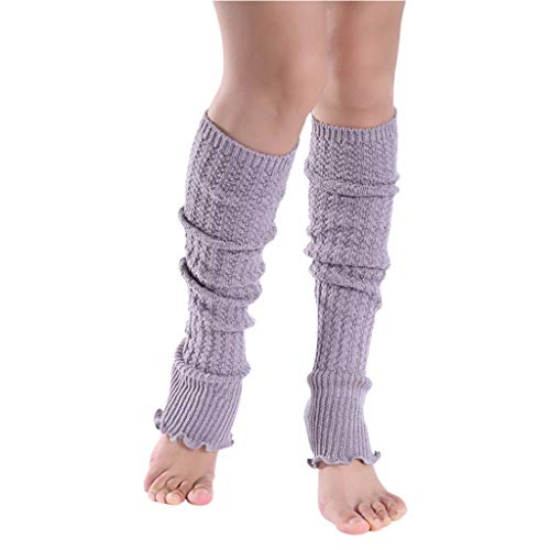 VAILANG Damen Mädchen Winter Over Knee High Footless Boot Socken Einfarbig Agaric Rüschen Saum Kabel Gestrickt rutschfeste Lange Beinlinge Hellgrau