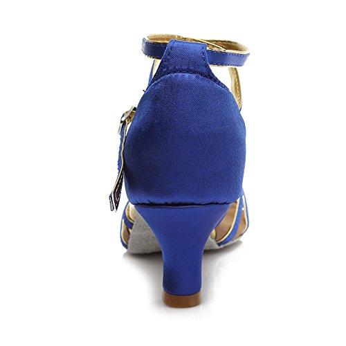 HIPPOSEUS Damen & Mädchen Sandalen Ausgestelltes Tanzschuhe/Ballsaal Standard Satin Latein Dance Schuhe,DE217-5,Blau,EU 39 - 5