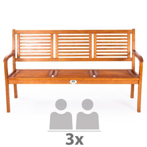 Ultranatura Gartenbank 3-Sitzer, Canberra – Serie – Edles & Hochwertiges Eukalyptusholz FSC zertifiziert – 158 cm x 61,5 cm x 89 cm - 3