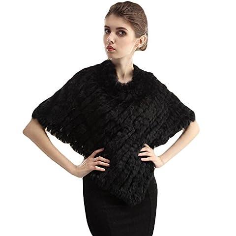 HENGSONG Femmes Couverture Châle Echarpes Handmade Armure Châle Triangle Shawl (Noir)