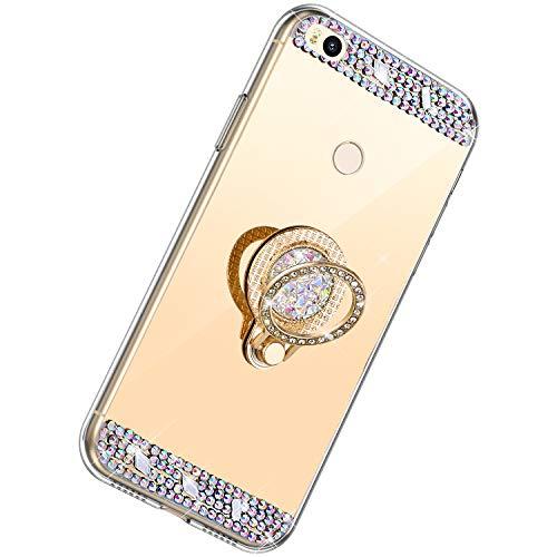 Herbests Kompatibel mit Xiaomi Mi Max 2 Hülle Glitzer Kristall Strass Diamant Silikon Handyhülle mit Ring Halter Ständer Schutzhülle Überzug Spiegel Clear View Handytasche,Gold
