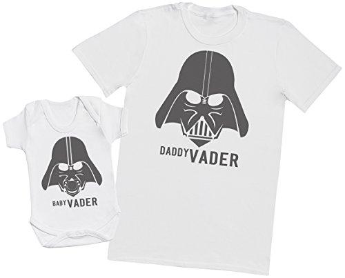 Zarlivia Clothing Baby Vader & Daddy Vader - Regalo para Padres y bebés en un Cuerpo para bebés y una Camiseta de Hombre a Juego - Blanco - Large & 0-3 Meses