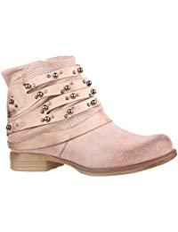 Elara Damen Stiefelette | Bequeme Biker Boots | Metallic Lederoptik | Chunkyrayan