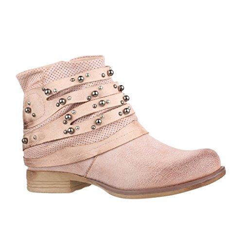 Elara Damen Stiefelette | Bequeme Biker Boots | Metallic Lederoptik | Chunkyrayan 606-PA-Pink-38