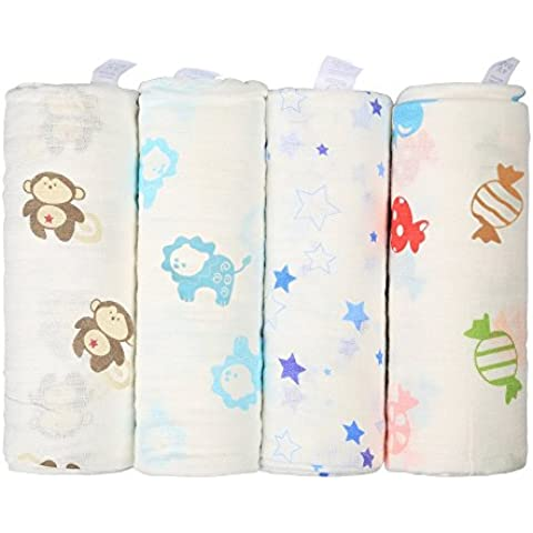 InnooBaby Muselina Bebé Manta Envolvente Unisexo 4 Pack 100% Algodón Natural Dibujos Estampados de Animalitos Colores 120CM*120CM Súper Grande y Cómoda