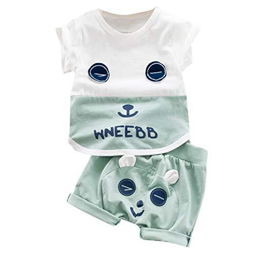 (Kinderbekleidung, Yanhoo Kleinkind Baby Jungen Mädchen Kurzarm Bärendruck Tops + Shorts Outfits Sets Kinder Kurzarm Cartoon Bär Buchstabe WNEEBB T-Shirt)