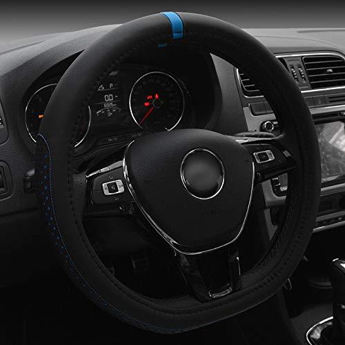 JINHONGH D-Art-Kunstleder-Lenkrad-Abdeckung für Volkswagen Golf Sagitar 38CM (Farbe : Blau)
