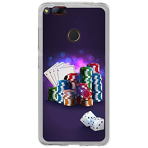 BJJ SHOP Transparent Hülle für [ ZTE Nubia Z17 Mini ], Klar Flexible Silikonhülle, Design: Pokerchips & Würfel