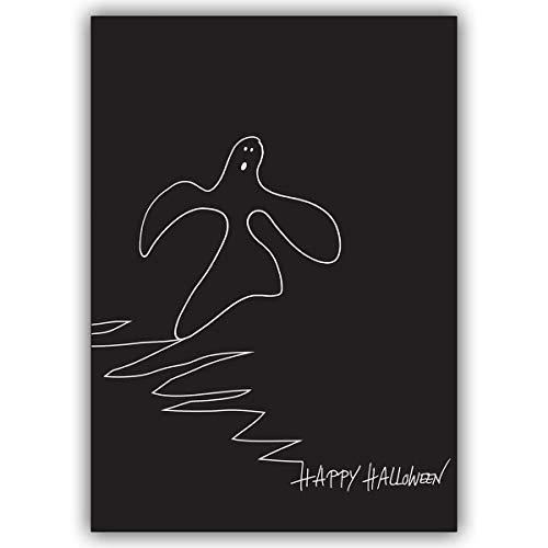 Conjunto de 10: Tarjeta ilustrada de halloween, tarjeta de felicitación divertida con fantasma reptante: Happy Halloween - con sobre
