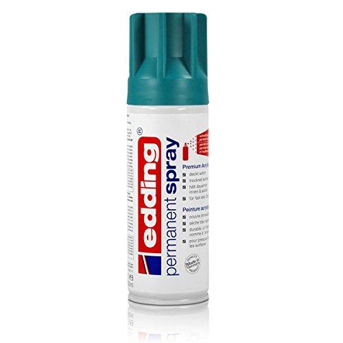 edding 5200 Permanent-Spray - petrol matt - 200 ml - Acryllack zum Lackieren und Dekorieren von fast allen Materialien z.B. Glas, Metall, Holz, Keramik, lackierb. Kunststoff, Leinwand - Sprühfarbe (Deckt Flasche Glas)