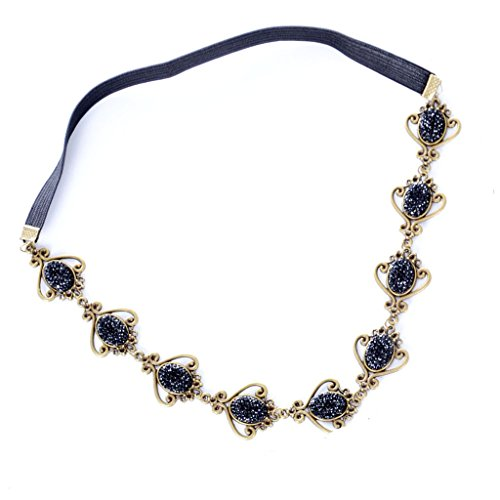 MagiDeal Gotik Schwarz Oval Perlen Stirnband Kostüm Kopfschmuck Haarreif Haarband