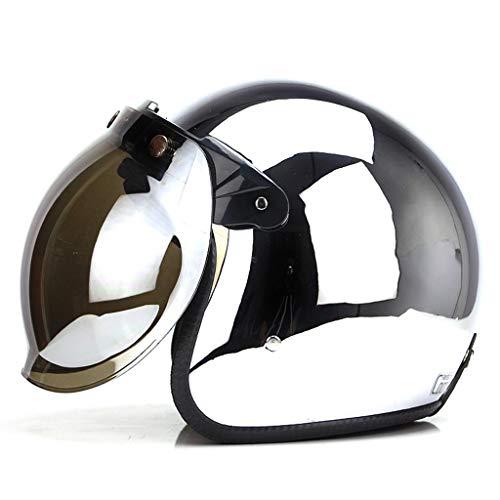 XiuXiu Harley Retro Helm Helm Elektrischer Motorradhelm Frau Mit Maske Brille Lokomotive Persönlichkeit Männlich Coole Hälfte (Color : S)