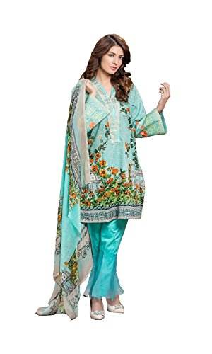Madeesh Pakistani Suit for Women, Embroidery Top in Pure Cotton, Semi Lawn Bottom, Printed Chiffon Dupatta, Pakistani Style Designer Salwar Kameez for Girls/Women  available at amazon for Rs.1599