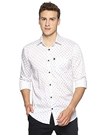 LEVIZO Men's 100% Cotton Designer Printed Full Sleeves Regular Fit Shirt White Size M