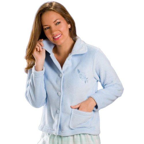 Veste de pyjama en polaire douce et chaude - femme - fermeture par boutons - bleu - 38-52 38/40 BLUE