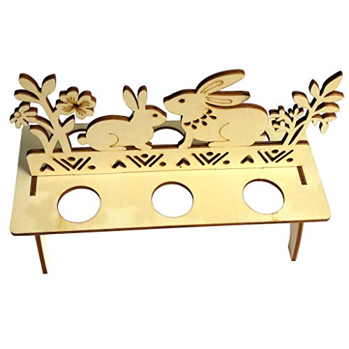 Domeilleur Detachable Wooden Rabbit Pattern Egg Shelves Display Tray Holder for Home Easter Decoration Display-trays