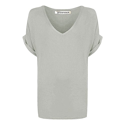 Womens Baggy Fit V Neck Top Ladies Turn Up Loose Batwing Short Sleeve Size 8-20 Grey