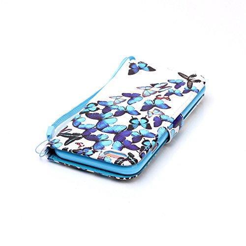 für Smartphone Apple iPhone 6 (4.7 Zoll) Hülle,Echt Leder Tasche für Apple iPhone 6 (4.7 Zoll) Flip Cover Handyhülle Bookstyle mit Magnet Kartenfächer Standfunktion + Staubstecker (4II) 9