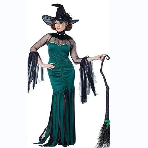 en-Frauen-Hexe-Vampirs-Königin-Kostüm-grünes böses Spitze-sexy Kleid mit Hüten und Strumpfhosen (Size : L) ()