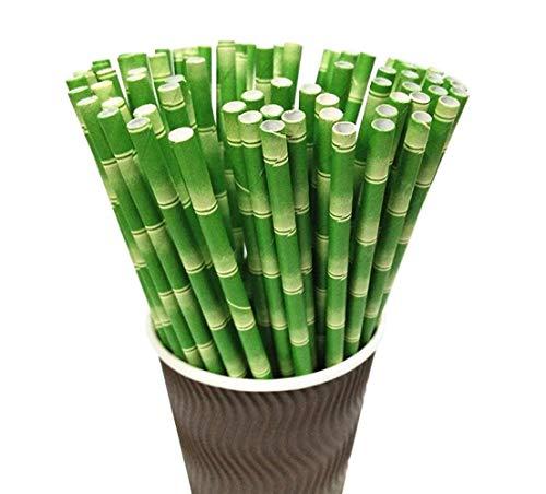 Papierstrohhalme, Packung mit 100 Bambus-Stängel-Druck Biologisch abbaubare Strohhalme für Partybedarf, Geburtstag, Hochzeit, Braut-, Baby-Dusche-Dekorationen Feierlichkeiten für Smoothies, Cocktails, -