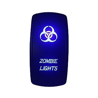bandc 12V/24V Zombie-Lights Laser geätzt Wippschalter Blau LED 5Pins SPST ON-OFF-für Arb Carling Narva Stil Ersatz Marine Grade Wasserdicht IP66