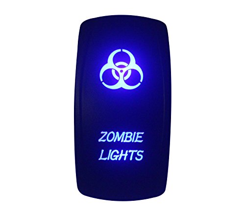bandc 12V/24V Zombie-Lights Laser geätzt Wippschalter Blau LED 5Pins SPST ON-OFF-für Arb Carling Narva Stil Ersatz Marine Grade Wasserdicht IP66 Single-pole-licht-schalter