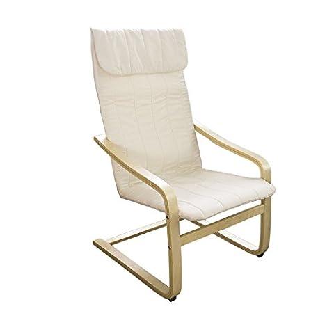 SoBuy® FST17-W Fauteuil confortable structure Bouleau Flexible (Blanc)