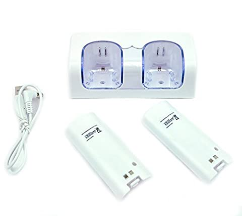 MP power @ STATION CHARGEUR 2 Port +2 BATTERIE battery 2800mAh Pour Nintendo Wii WIIMOTE MANETTE REMOTE