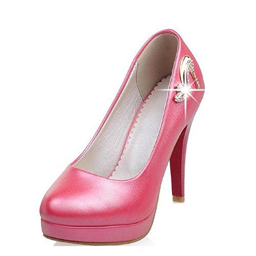 AllhqFashion Damen Weiches Material Rund Schließen Zehe Hoher Absatz Ziehen Auf Pumps Schuhe, Rosa, 37