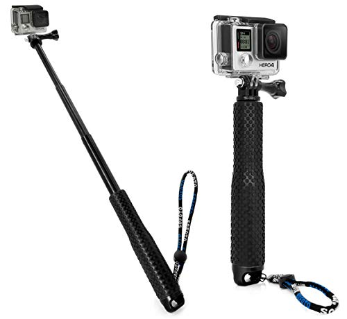 MyGadget Selfie Stick Waterproof x Action Camera - Bastone Telescopico Estensibile - Hand Grip per p.e. GoPro Hero 6 5 4 3+ Xiaomi Yi - Nero