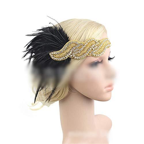KERVINFENDRIYUN YY4 Pfau-Federstirnbandhaarnadelkopfschmuck der Wilden Partei der Haarschmuckbühnen-Tanzparty Wilde (Farbe : Golden)