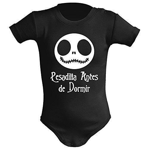 Body bebé unisex. Parodia Pesadilla antes de navidad - Pesadilla antes de dormir. Regalo original. Body bebé divertido. Body friki. (3 meses, negro)