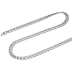 FOCALOOK Collier pour Homme Garçon 5mm Chaîne Gourmette en Acier Inoxydable Link Chain Necklace Rappeur Hip Hop Punk Style 55cm/22, Couleur d'argent