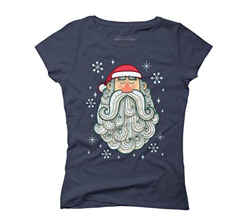 Santa Portrait Women's Graphic T-Shirt - Design By Humans Navy