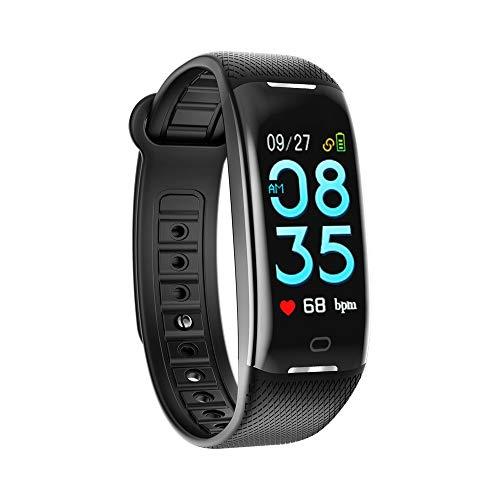 Jiameng smartwatches - pedometro intelligente braccialetto del cardiofrequenzimetro della pressione sanguigna dello schermo a colori orologio nero intelligente con un test di pressione del sangue