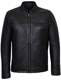 Veste LEON 257. Style de motard pour Hommes couleur Noir classique équipée  d agneau 90cba4b51945