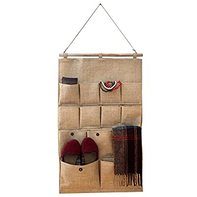 Wall Door Hanging Over Organizer Storage Bag - 13 Pocket Holders for Daily Use Accessories in Home Closet Bedroom Kitchen Kids Room - Natural Fiber look - inexpensive UK light shop.