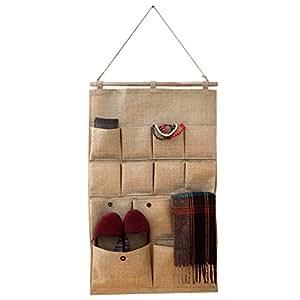 jutetasche zum aufh ngen mit 13 taschen zur aufbewahrung und organisation von belle vous. Black Bedroom Furniture Sets. Home Design Ideas