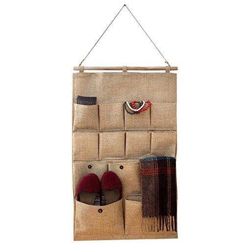 Jutetasche zum Aufhängen mit 13 Taschen zur Aufbewahrung und Organisation von Belle Vous - Hängeaufbewahrung Kinderzimmer, Bad, Tür, Wand - Multifunktional Hängeorganizer, Stoff Türtasche Wandtasche (Tags Stoff-tasche)