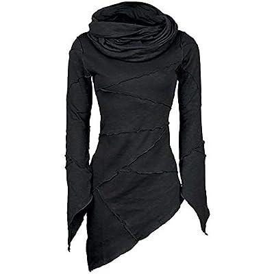 Yvelands Damen Langarm T-Shirt dünner Fester Rollkragenpullover Schalkragen Asymmetrische Ärmel Skew Saum Tops Bluse