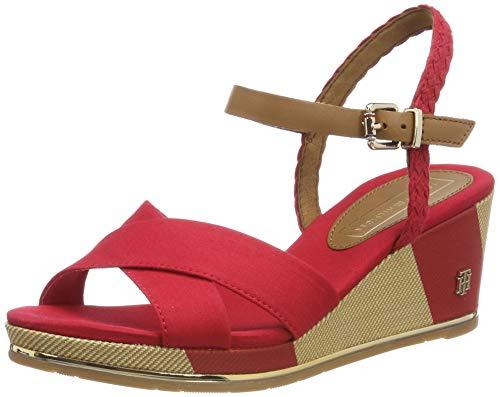 Tommy Hilfiger Damen Printed MID Wedge Sandal Plateausandalen, Rot (Tango Red 611), 40 EU - Wedges Sandalen Schuhe Frauen