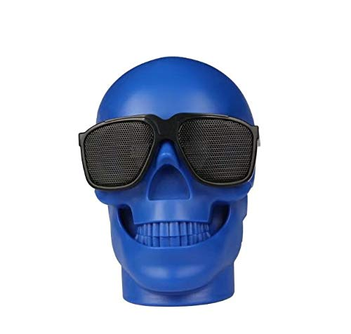 H&T Bluetooth-Lautsprecher, Schädel Drahtlose tragbare Bluetooth-Lautsprecher Subwoofer-Geschenk Halloween-Lautsprecher Drahtloser Außenlautsprecher mit HD Mic TF-Karte USB-Eingang,Blue