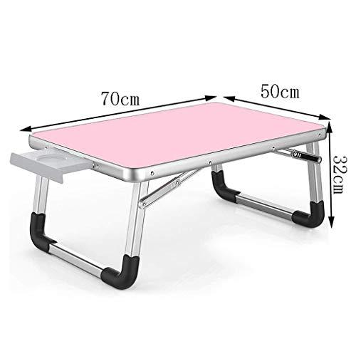 Klapptisch Klapptisch tragbares Zuhause Klapptisch Schlafzimmer Laptop Tisch modernen Minimalisten Computertisch (Color : Pink)