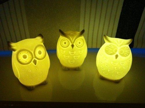 3 x Keramik Kleine Eulen - Beleuchtete Dekorative Ornamente