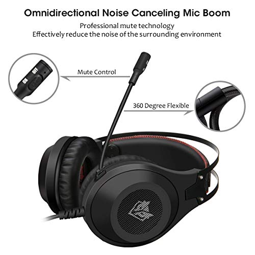 ELEGIANT Gaming Headset ps4, Gaming Kopfhörer Noise Cancelling Headphones Bügelkopfhörer mit Reiner Tonqualität Mikrofon 3,5mm Klinke für PS4 Pro/PS4 Xbox One PC Laptop Tablet Mac